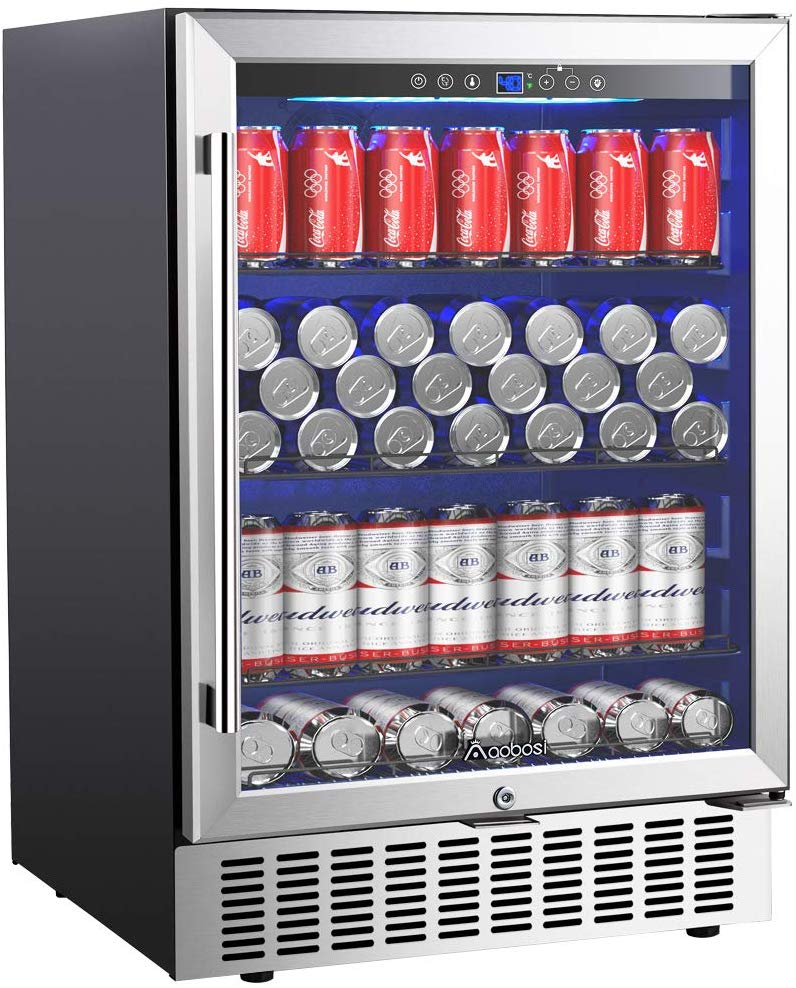 Aobosi 24 Inch Beverage Cooler, 164 Cans Freestanding and Built-in Beverage Refrigerator
