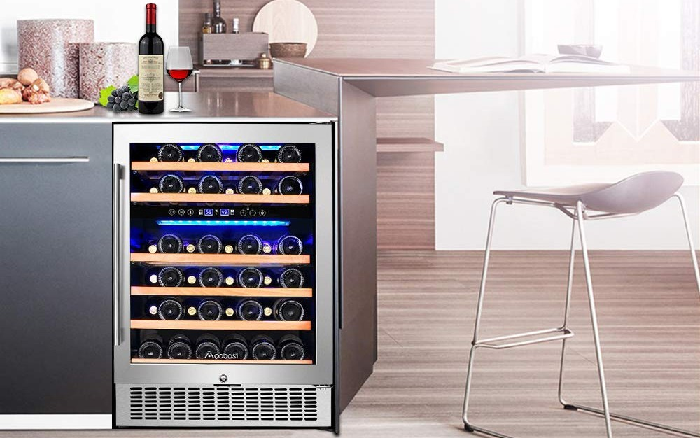Aobosi 24 Inch Dual Zone Wine Cooler 46 Bottle Freestanding and Built in Wine Refrigerator