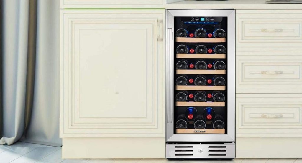 Built-in wine cooler mounted in the kitchen