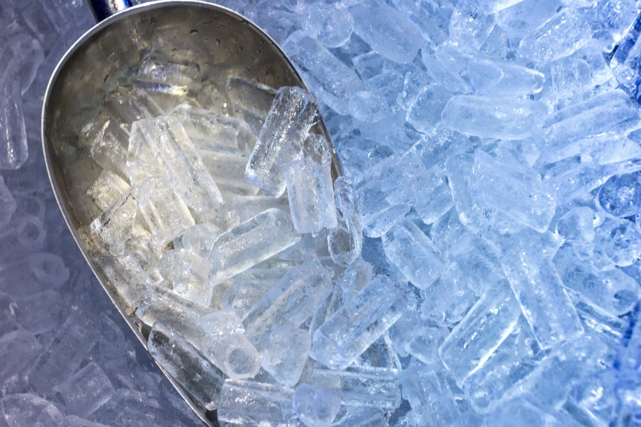 Cold Clear Ice With a Scoop