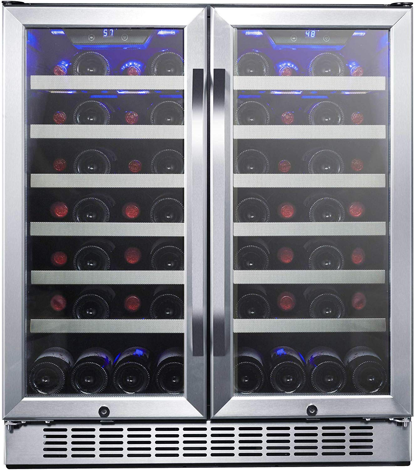 EdgeStar CWR5631FD 30-Inch 56 Bottle Built-In Dual Zone French Door Wine Cooler