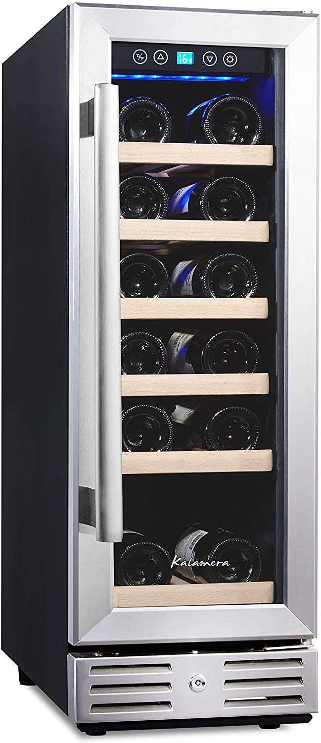 Kalamera 12'' Wine Cooler 18 Bottle Built-in or Freestanding with Stainless Steel & Double-Layer Tempered Glass Door