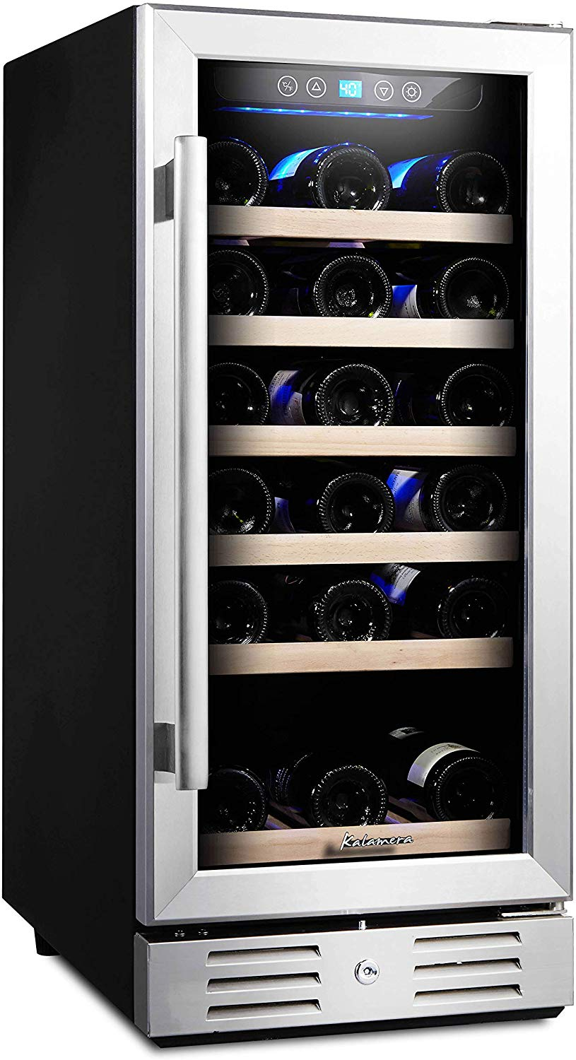 Kalamera 15'' Wine Cooler 30 Bottle Built-in or Freestanding