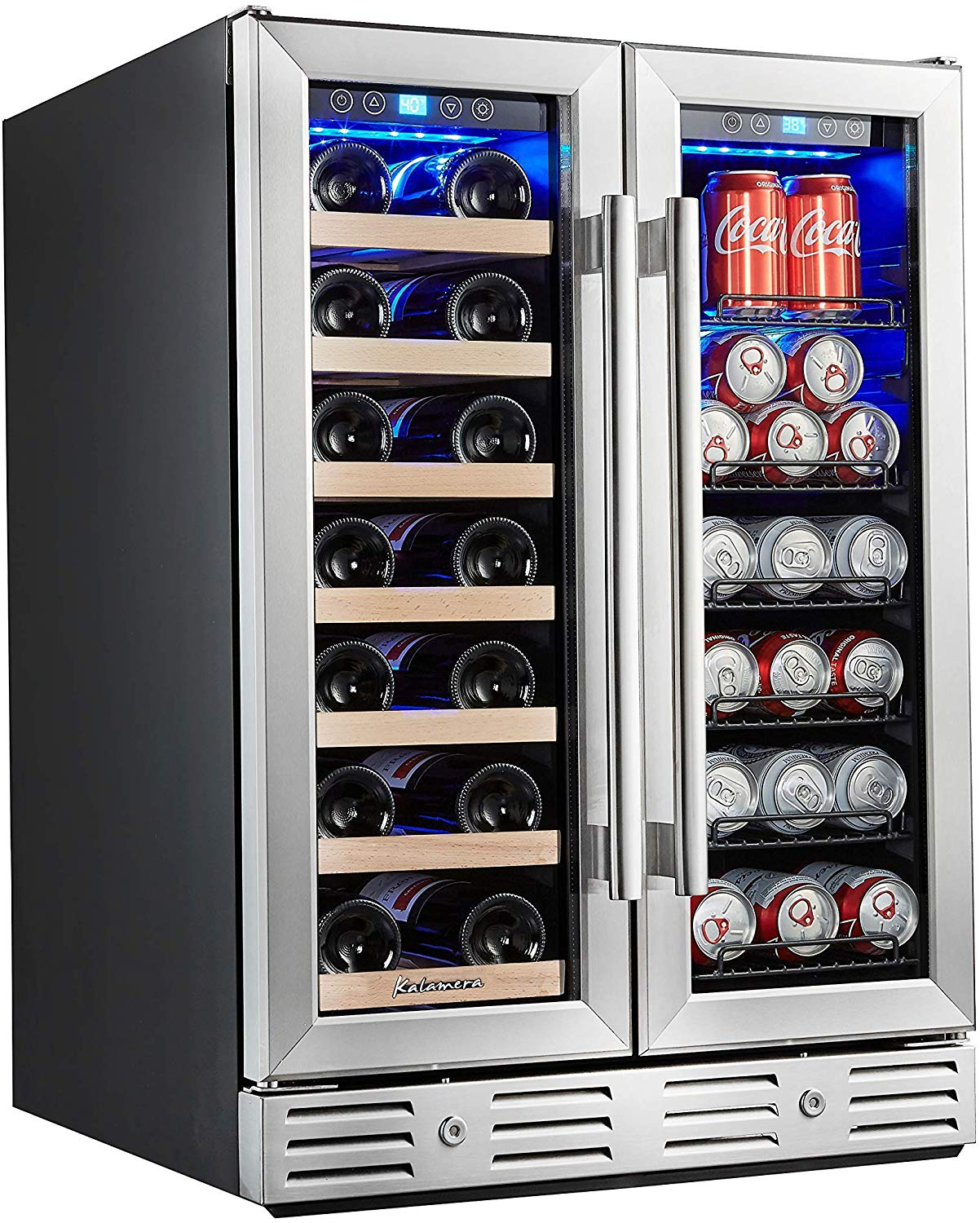 Kalamera 24 Beverage and Wine Cooler Dual Zone Built-in and Freestanding with Stainless Steel Door
