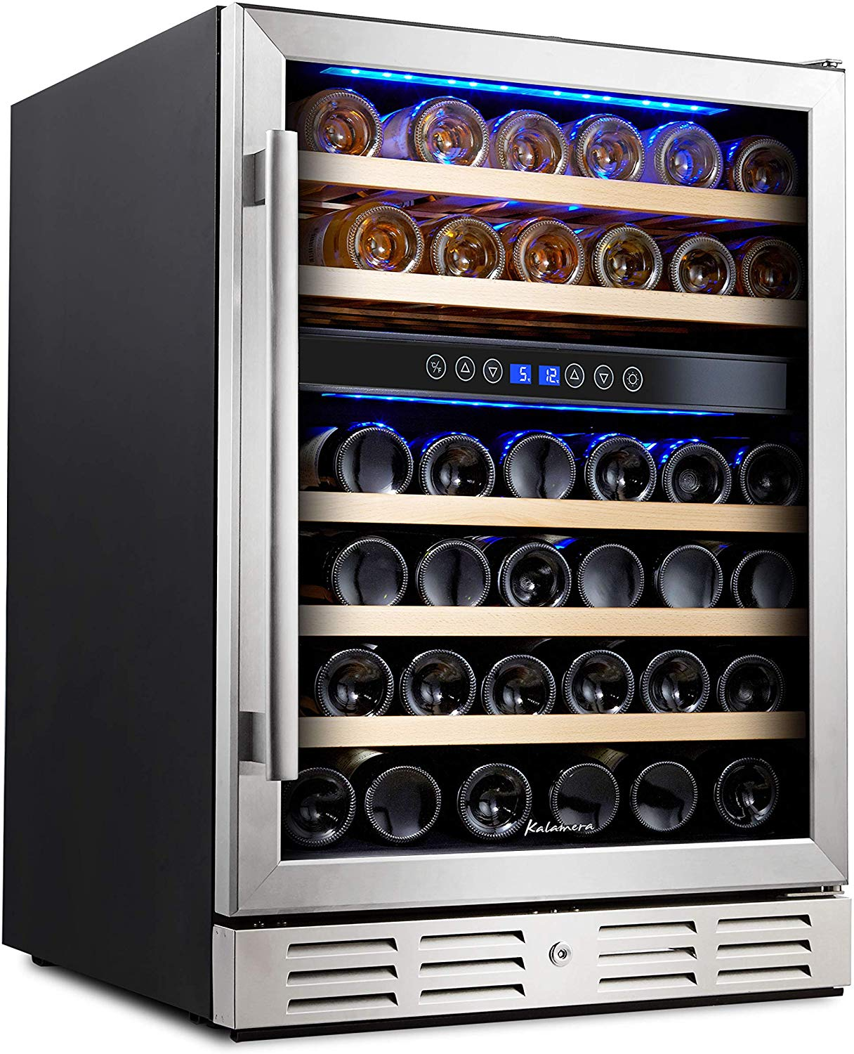 Kalamera 24'' Wine refrigerator 46 Bottle Dual Zone Built-in and Freestanding with Stainless Steel
