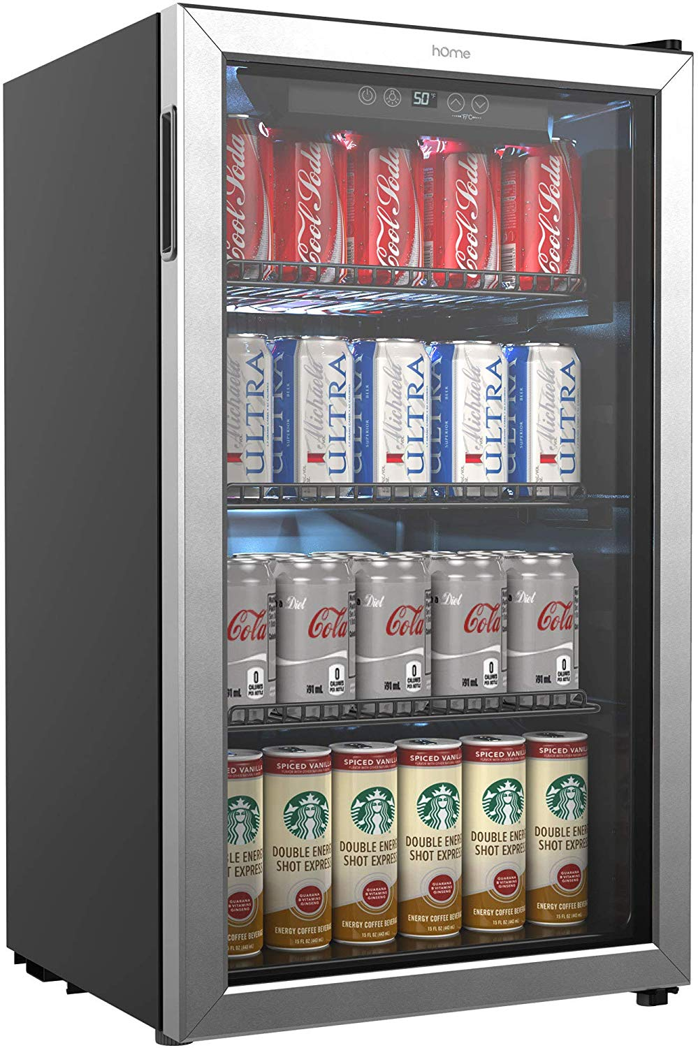 hOmeLabs Beverage Refrigerator and Cooler - 120 Can Mini Fridge with Glass Door for Soda Beer or Wine
